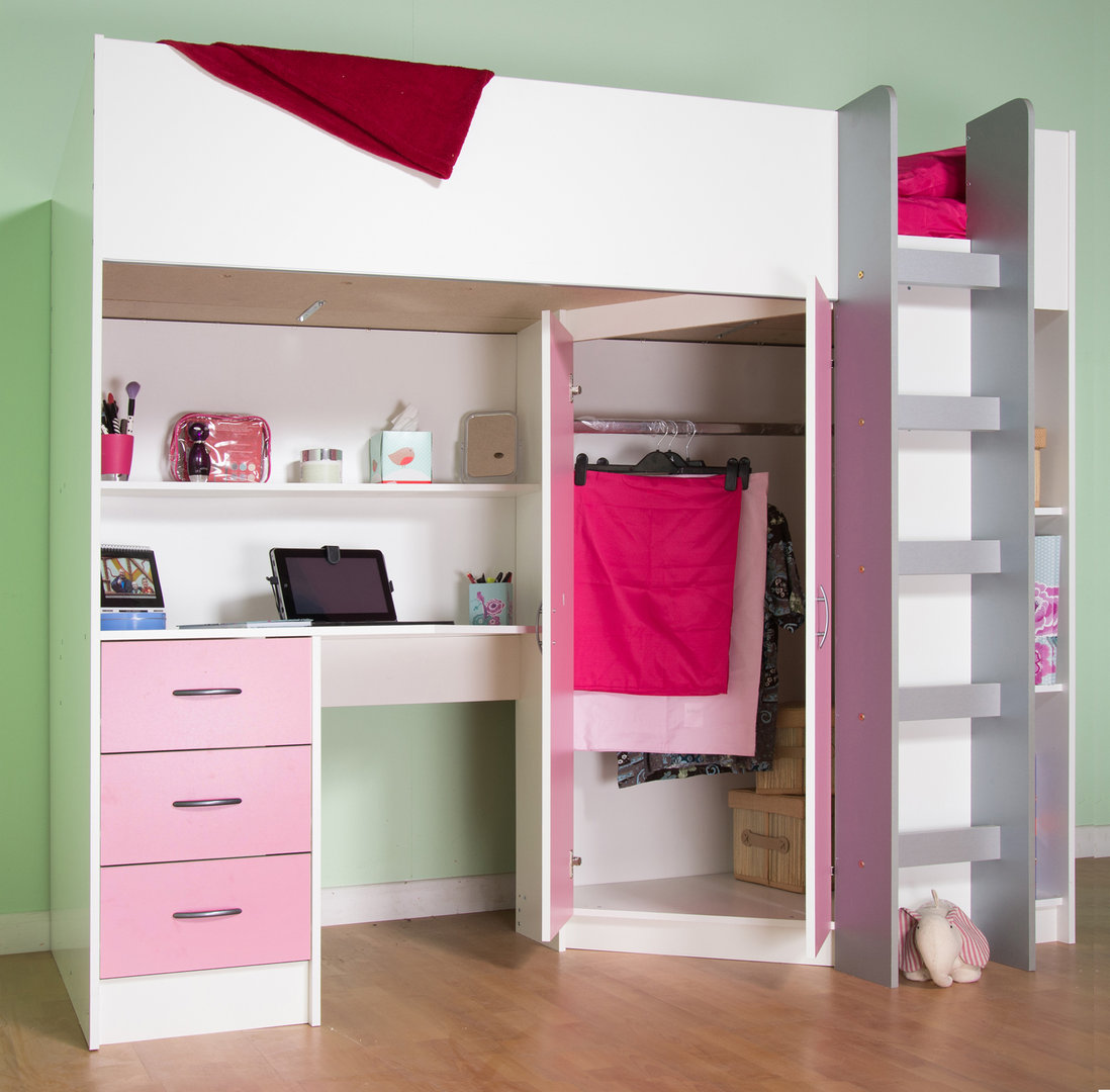 Candy childrens high sleeper bed white pink for How to make a high bed