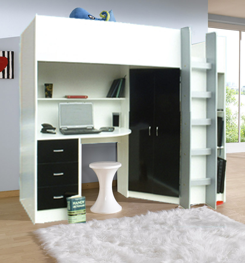 midsleeper clearance with bed family hit cabins products desk bunk cabin thuka pine