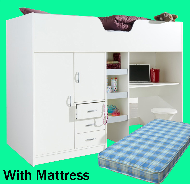 Brighton high cabin sleeper bed with mattress rutland for Furniture 123 cabin bed