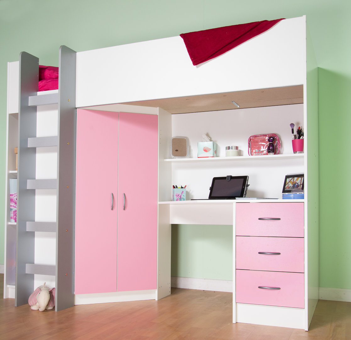 Cristchurch High Cabin Sleeper Bed In White With Pink Features