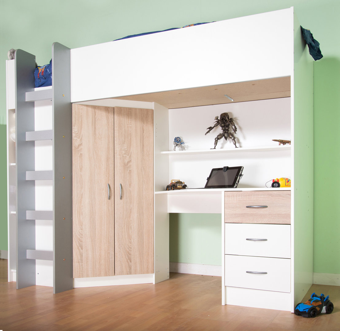 Cristchurch High Cabin Sleeper Bed In White With Oak Features