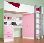 Candy High Sleeper Bed White/Pink