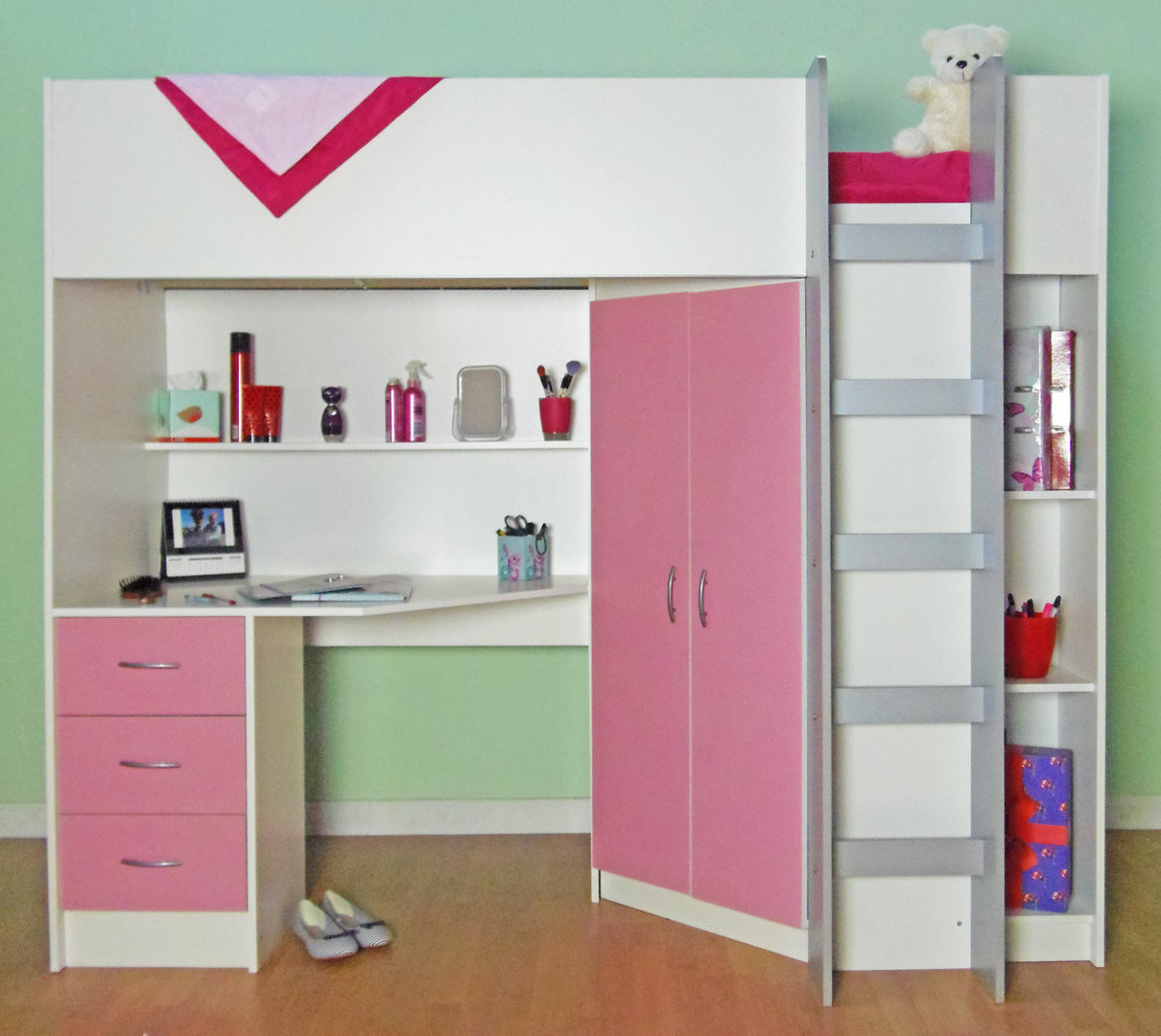 High sleeper beds -  Candy High Sleeper Bed White Pink
