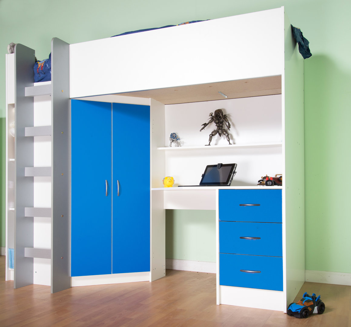 Cristchurch High Cabin Sleeper Bed in White with Blue features